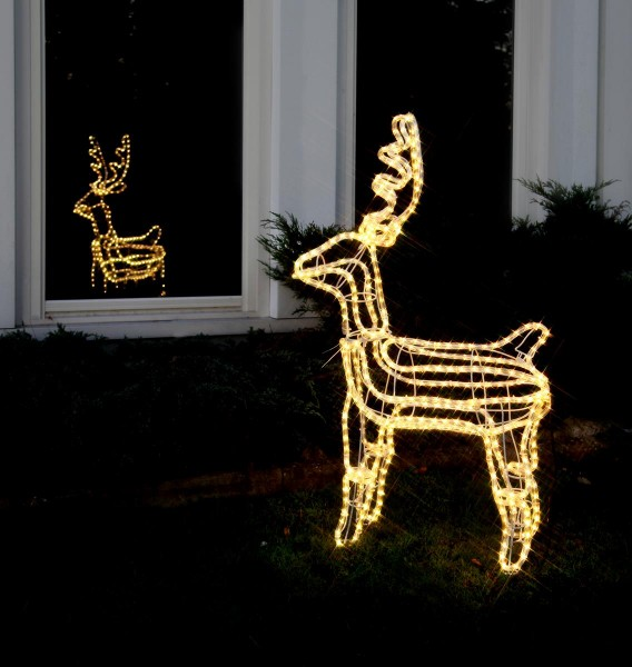 """3D-LED-Rope-Light-Silhouette""""Dasher"""" - Rentier stehend - 432 warmweiße LEDs - H: 105cm - outdoor"""