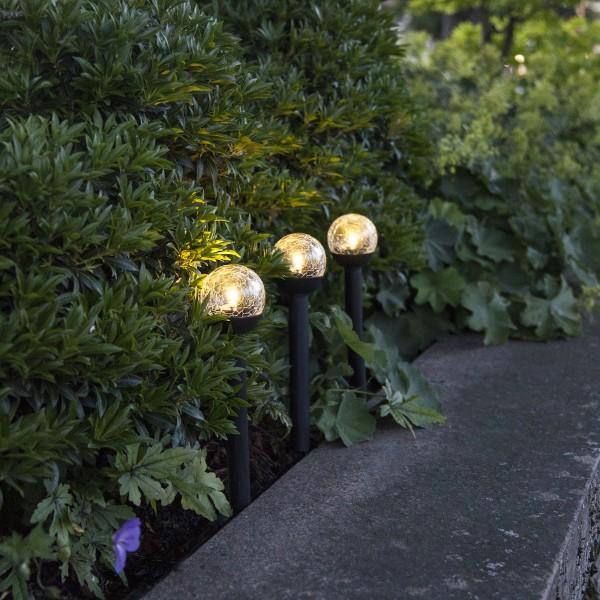 LED Solarkugel/Gartenspieß Roma - H: 23cm - warmweiße LED - Dämmerungssensor - 3er Set