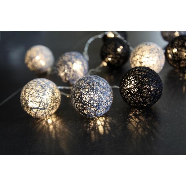 LED-Ball Lichterkette SISAL JOLLY schwarz/grau- 10 teilig - 1,35m - warmweiße LEDs - inkl. Trafo
