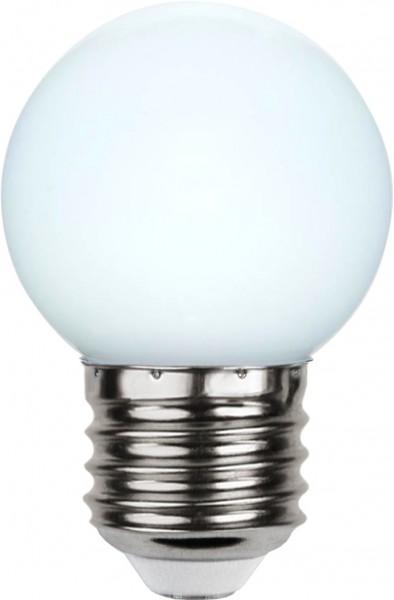 LED Kugellampe DECOLINE G45 - 1W - kaltweiss - E27 - 15lm -opal