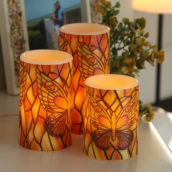 LED Kerzen Schmetterling - Echtwachs - flackernde LED - Fernbedienung - H: 10/12/15cm - 3er Set