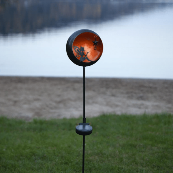 """LED Solarstab """"Fairy""""- schwarz - amber LED - innen beleuchtete Kugel - H: 76cm - Dämmerungssensor"""