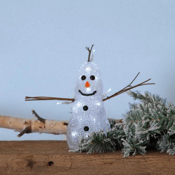 "LED-Acrylschneemann ""Crystal Snowman"" - 20 kaltweiße LED - H: 26cm - Timer - batteriebetrieben"