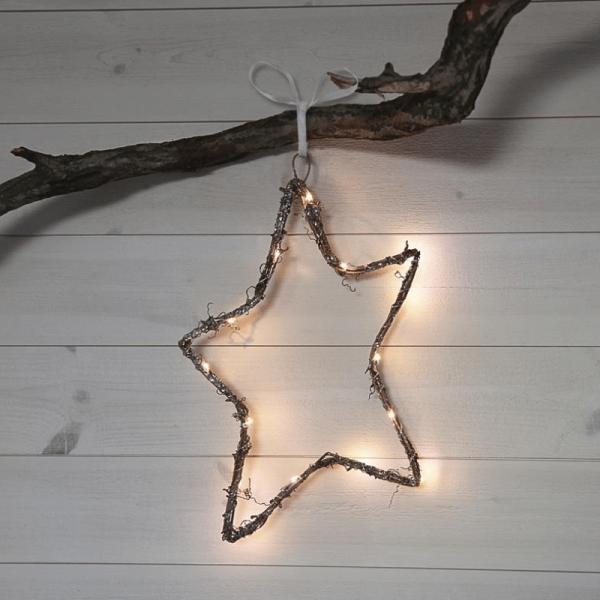"""LED Dekostern """"Willy"""" - hängend - 15 warmweiße LED - H: 37cm - Holz/Metal - Batteriebetrieb - braun"""
