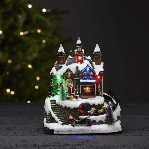 """LED-Weihnachtszene """"Trainville"""" - mit Bewegung und Musik - 8 bunte LED - H: 22cm - bunt"""