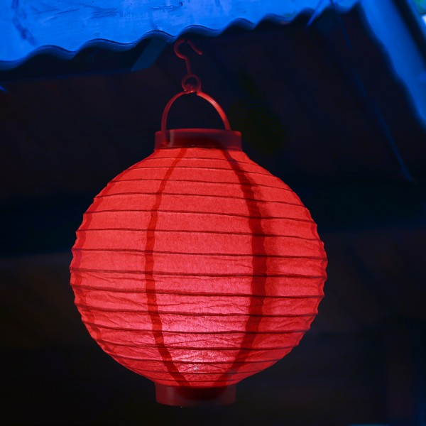 LED Lampion FESTIVAL - Papierlaterne - kaltweiße LED - D: 30cm - Montagehaken - rot