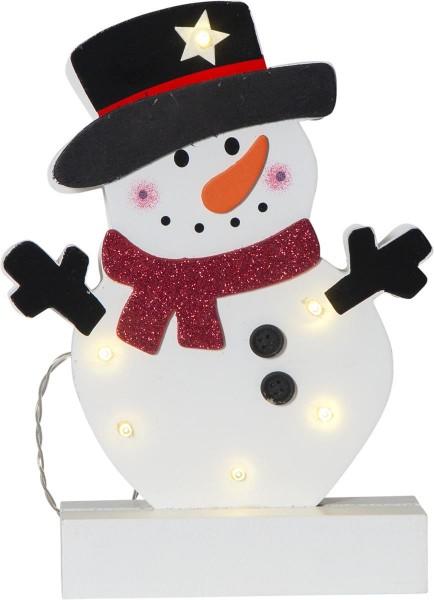 "LED-Fensterleuchter ""Freddy"", Schneemann, 6 warmwhite LED, Material: Holz Farbe: bunt, ca. 25 cm x 19 cm Batterie, Timer, Vierfarb-Karton"