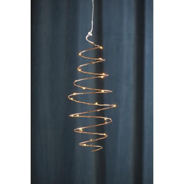 """LED-Hängeleuchte """"Dizzy"""" - 25 warmweiße LED - kupferfarben - Material: Metall - H: 40cm, B: 14cm"""