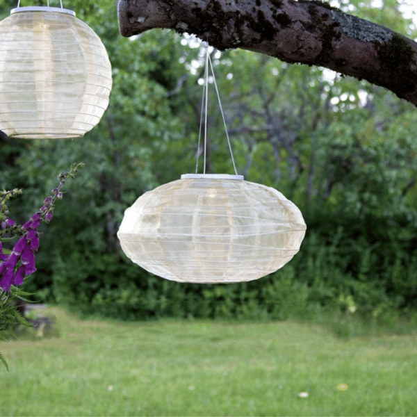 "LED Solar Lampion ""Festival"" - warmweiße LED - D: 35cm - Dämmerungssensor - beige"