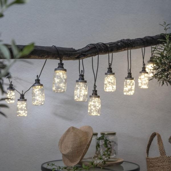 LED Lichterkette CIRCUS BOTTLE - 10 transparente Flaschen mit Drahtlichterkette - Outdoor - 4,5m