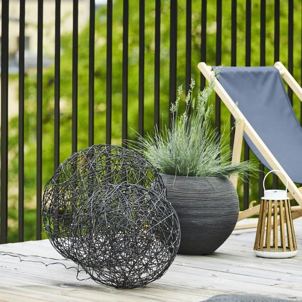 LED 3D Designkugel TRASSEL - Drahtkugel - D: 50cm - 150 warmweiße LED - Indoor/Outdoor - schwarz