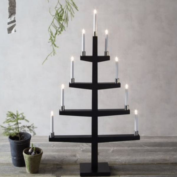 """Kerzenleuchter """"Tall"""" - 9 Arme - warmweiße Glühlampen - H: 110cm, L: 61cm - Schalter - Schwarz/Silb"""