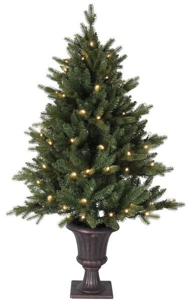 "LED-Tannenbaum ""Byske"" - 80 warmweiße LEDs - H. 120cm, D: 80cm - antikbrauner Topf - mit Trafo"