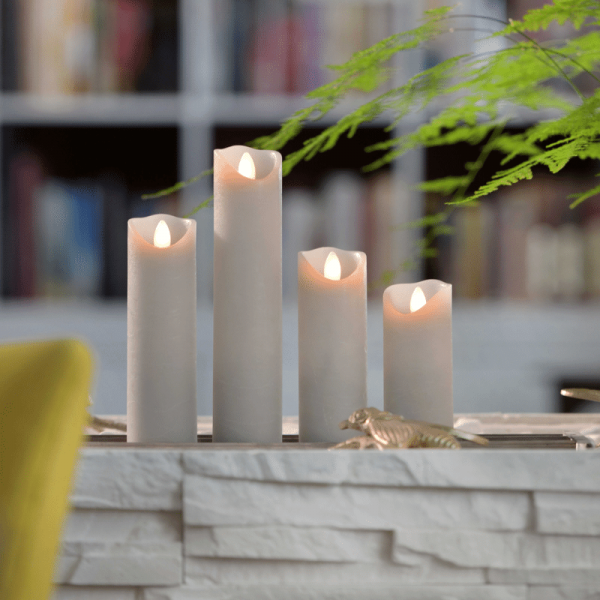SOMPEX LED Wachskerze SHINE schmal | grau | gefrostet | D: 5cm H: 12,5cm | fernbedienbar | Timer