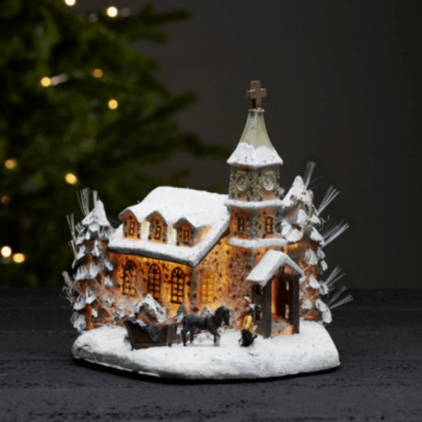 "Leuchtkirche Fibre-Optic ""Nottingham"" - Motiv: Dorfkirche mit Winterszene - H: 24cm - bunt"