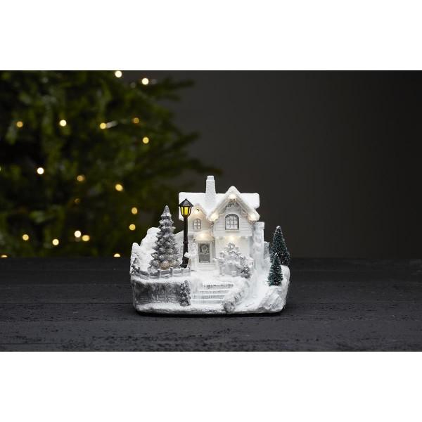 "LED-Weihnachtszene ""Brighton"" - 8 warmweiße LEDs - weiss - ↑16,5cm"