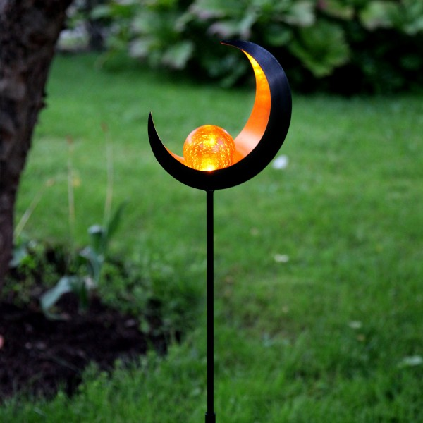 "LED Solarstab ""Mond""- schwarz - amber LED - Glaskugel im Kopf - H: 85cm - Dämmerungssensor"