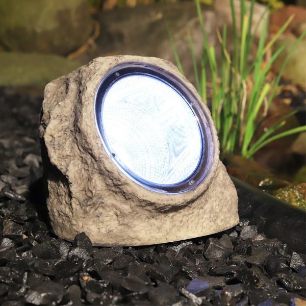 """LED Solar Stein """"Rocky"""" - Spot mit 4 kaltweißen LED - Dämmerungssensor - H: 11cm"""