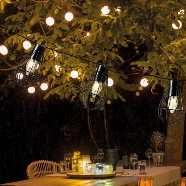 LED Solar Gitter Lichterkette INDUSTRIAL - 8 warmweiße Gitterlampen - L: 1,5m - schwarz