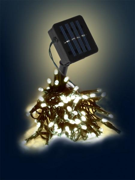 LED-SOLAR-Lichterkette | 50x warmweiße LEDs | In&Outdoor | grünes Kabel | warmweiße LED | 5m