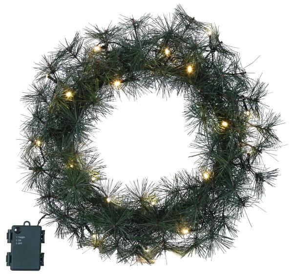 "LED-Tannenkranz ""Furn"" - 20 warmweiße LEDs - D: 45cm - Timer - Batterie - outdoor"