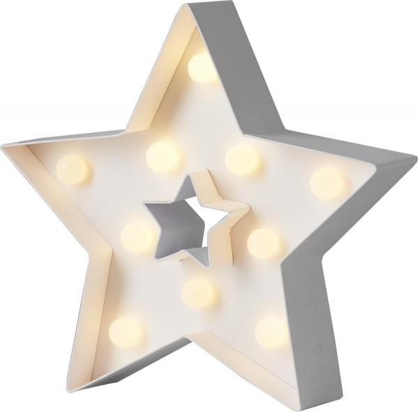 """LED-Leuchtstern """"Papyruz"""" - stehend - 5-zackig - 10 warmweiße LED - H: 20cm - Batteriebetrieben"""