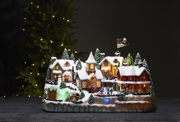 "LED-Leuchthaus ""Largeville"" - Motiv: Winterdorf - bunt - 31 warmweiße LEDs - ↑35cm"