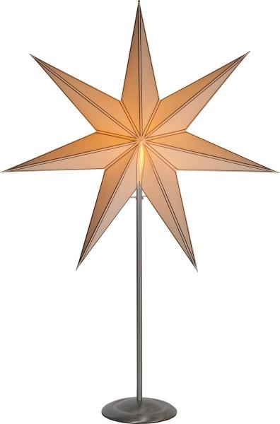 "Standleuchte Stern ""Nicolas"", E14 ca. 90 x 60 cm, Material: Metall/Papier Farbe: creme / gold ; Ständer : Edelstahl Vierfarb-Karton"