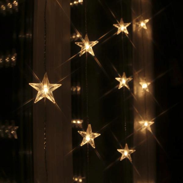 "LED Lichtervorhang ""Star Curtain"" mit 30 Sternen - 30 warmweiße LED - 90x120cm - inkl. Trafo"
