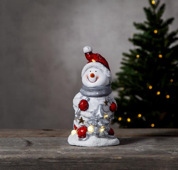 "LED Keramik Figur ""Friends"" - Schneemann - 6 warmweiße LED - H: 23cm - Batteriebetrieb"
