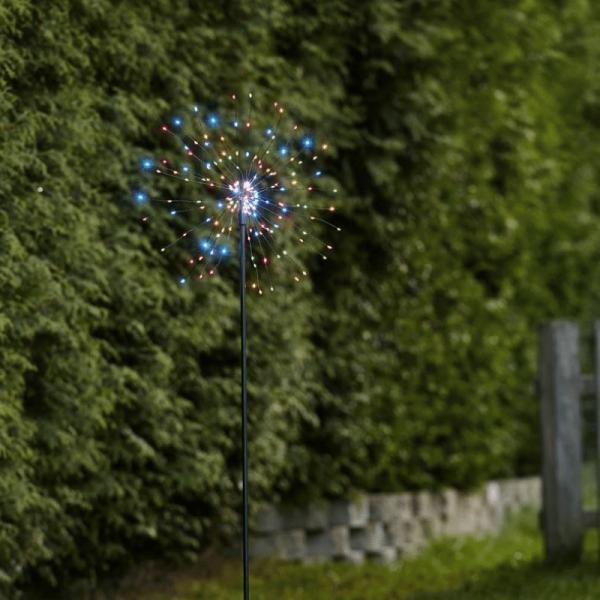 "LED Dekostab ""Firework"" - H: 110cm - 160 kleine farbige LED - inkl. Trafo - outdoor - schwarz"