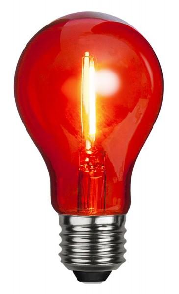 LED Leuchtmittel DEKOPARTY rot - klar - A60 - E27 - 1W - 26lm