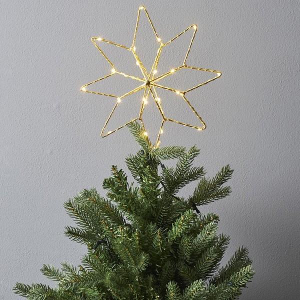 LED Baumspitze TOPSY - Metalldraht - warmweiße LED - Batterie - Timer - D: 23cm - H: 30cm - gold