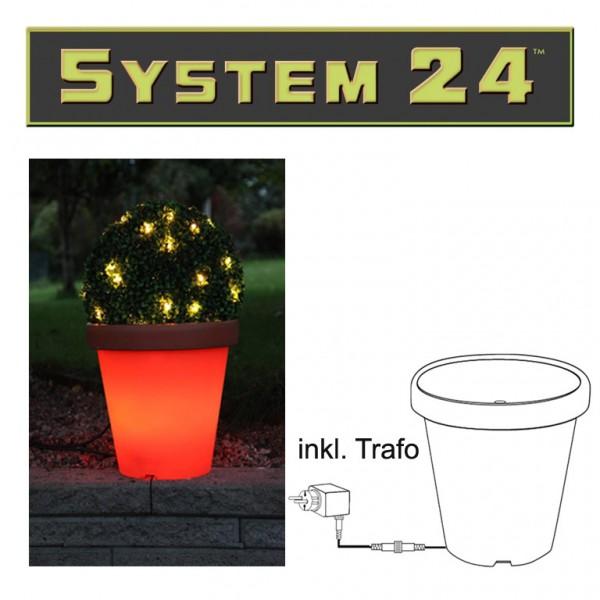 System 24 | LED-Terracotta-Blumentopf | koppelbar | inkl. Trafo | →36 x ↑33cm