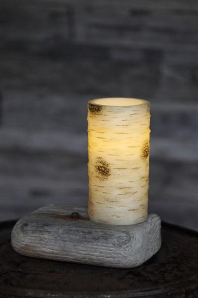 LED-Kerze | Echtwachs | Birken-Design | flackernde LED | Timer | Weiß | →7,5cm | ↑15cm