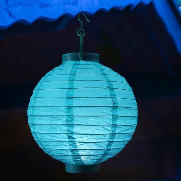 LED Lampion FESTIVAL - Papierlaterne - kaltweiße LED - D: 30cm - Montagehaken - türkis