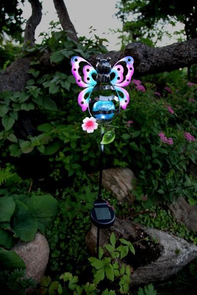 """LED-Solarstab """"Butterfly""""- mehrfarbig - weiße LED in Glaskugel - H: 85cm - D: 16cm - Dämmerungssensor"""