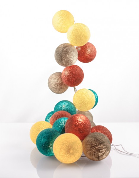 good moods* LEBENSWERT - Ball-Lichterkette mit 35 Stoffkugeln - 35 warmweiße LEDs - Geschenkkarton