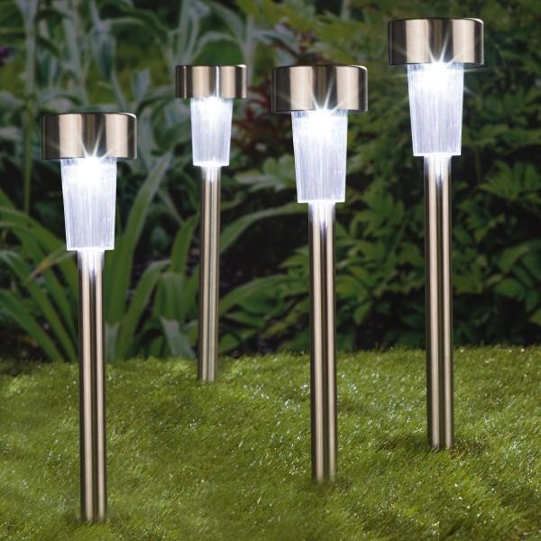 LED Solar Wegleuchte mit Erdspieß - Edelstahl - kaltweiße LED - H: 36,5cm - Silber - 4er Set