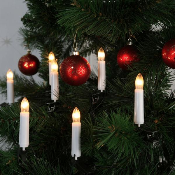 Kerzenkette - 16 warmweiße Kerzen - Indoor - Ring - E10 Fassung - H: 11cm, L: 7,50m - weiß