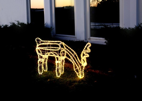 """3D-LED-Rope-Light-Silhouette""""Dasher"""" - Rentier grasend - 432 warmweiße LEDs - H: 59cm - outdoor"""