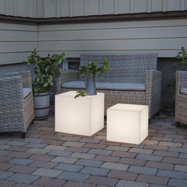 Würfel Tisch 30cm - E27 Fassung - max 23W - 5m Zuleitung - indoor & outdoor - Gartenleuchte