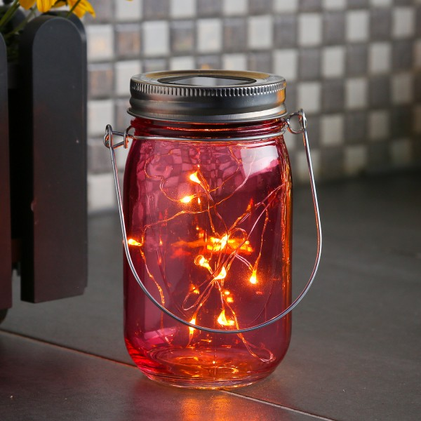 LED Solarglas - Windlicht - LED Drahtlichterkette - Lichtsensor - Aufhänger - H:14cm - D: 8cm - rosa
