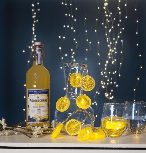 """LED-Lichterkette """"Lemon"""" - 10 Zitronenscheiben mit warmweißen LEDs - 1,35m - Batterie - Timer"""