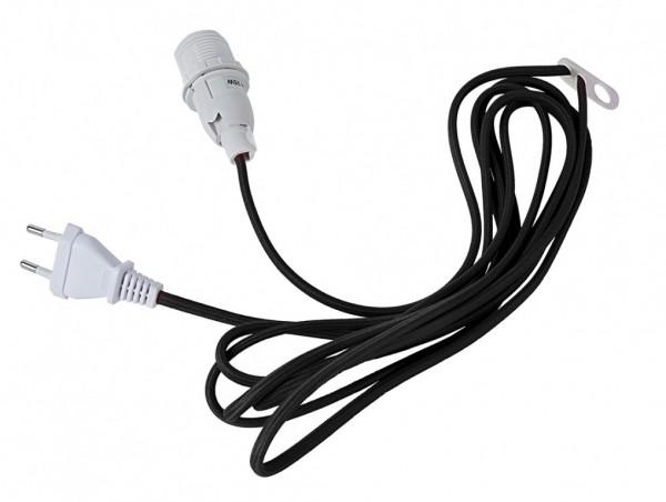 Lampenhalterung für Leuchtsterne - E14 Fassung - textilummanteltes Kabel - 3,50m - schwarzes Kabel