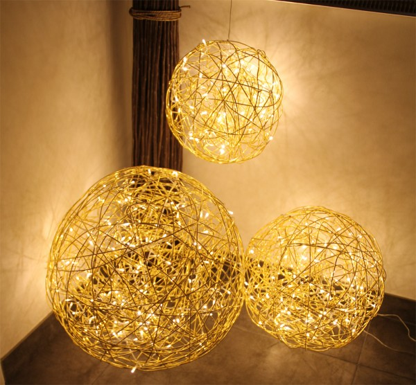 "Drahtkugel gold ""GOLD SPHERE 50"" - 50cm - 150 warmweiße LEDs - outdoor IP44, Trafo"