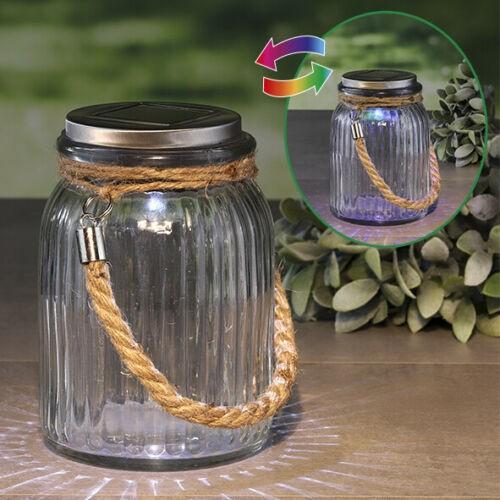 LED Solarglas COLORADO mit Farbwechsel und Weiß - D: 11cm H: 16cm - Dekoglas mit Band