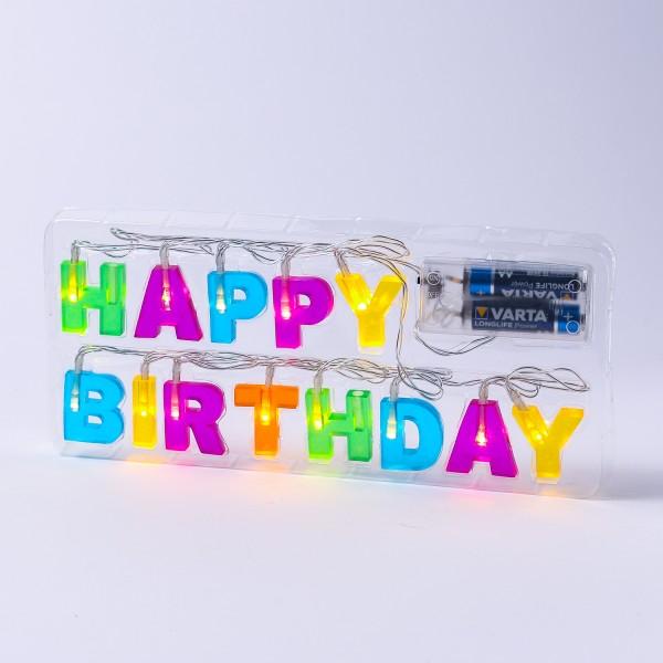 LED Lichterkette HAPPY BIRTHDAY - 13 warmweiße LED - L: 1,10m - Batteriebetrieb - bunt
