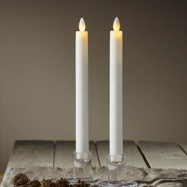 """LED Stabkerze """"Glow"""" - Echtwachs - warmweiße flackernde LED - H: 24cm - Timer - weiß - 2er Set"""