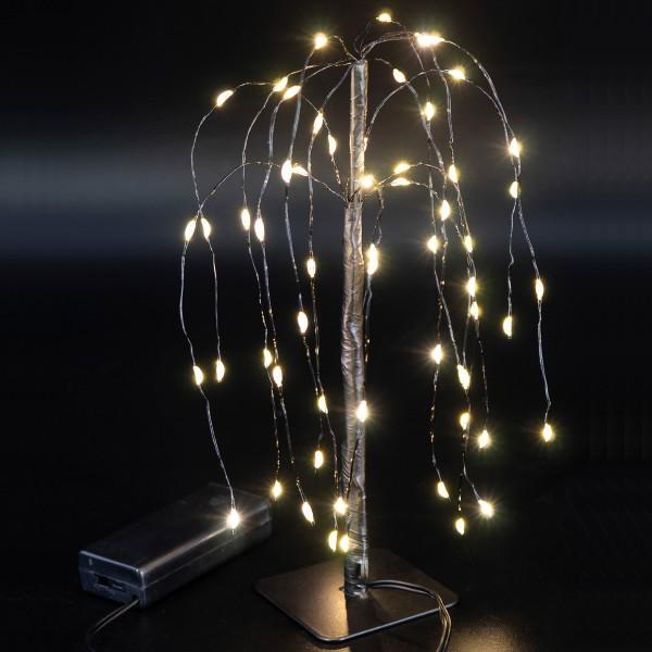 LED Baum Mini - Weidenbaum - Dekoleuchte - 60 warmweiße LED - Batteriebetrieb - schwarz